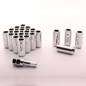 Set of SILVER LONG imbus lug nuts 12x1,5 + Key