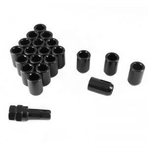 Set of BLACK imbus lug nuts 12x1,5 + Key